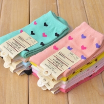 lovely heart print women cotton socks high quality