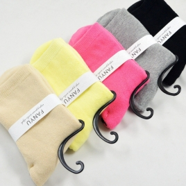 candy solid color pile thicken warm women socks