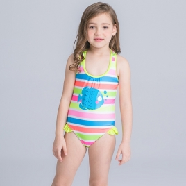 lovely fish stripes one piece little girl swimwear
