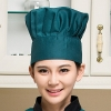 blackish greenblack and white square print chef hat