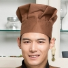 brown chef hatblack and white square print chef hat