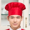 red chef hatblack and white square print chef hat