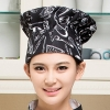 color 14black and white square print chef hat