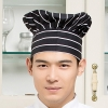 color 17black and white square print chef hat