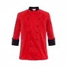 unisex red (black hem) coatpopular reefer collar unisex chef coat for work chef uniforms