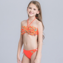 cute applique child girls swimwear bikini