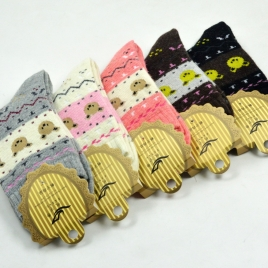 bear head thicken wool winter women socks