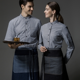 Europe denim fabric patchwork unisex apron uniform