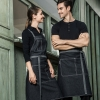 Europe design short &  halter long design black denim apron