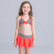stripes two piece  young girl bikini swimwear set