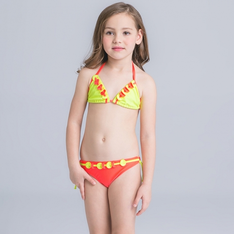 heart print little girl two piece swimwear