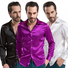 fashion casual Imitation silk men shirt
