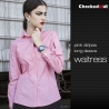 long sleeve pink shirt for womenfashion stripes design short  long sleeve waiter shirt blouse