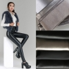 black #1winter fashion fleece lining Artificial leather pant jeans  legging