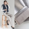silverwinter fashion fleece lining Artificial leather pant jeans  legging