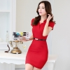 red dressKorea design formal office lady work dress