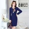 navyEurope design fashion long sleeve one-piece work dress