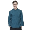 men blackish greencasual wide sleeve opening waiter pullover shirts waiter uniforms