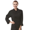 black coatunisex rollover sleeve double breasted chef jacket coat