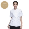 short sleeve women white jacketChinese style collar double breasted restaurant kitchen cook uniform coat