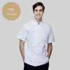 short sleeve men white jacketChinese style collar double breasted restaurant kitchen cook uniform coat