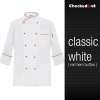 white red hem button coatFrance design unisex double breasted  chef jacket coat restaurant chef uniform
