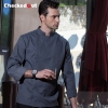 grey chef coat2016 new simple fashion invisible button chef jacket chef workswear uniform