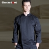 black chef coat2016 new design fashion invisible button long sleeve chef work wear uniform