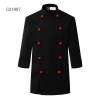 unisex black(orange button) coatclothing button double breasted chef coat winter design
