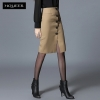 Blackish GreenEurope design autumn winter front button  fashion skirt