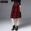woolen plaidEuropean woolen plaid mid length women skirt