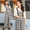 Light Graycasual checkered printing pregnant women pant maternity pant