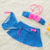 color 4bow dot print children little girl swimwear two piece set