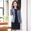 color 1fashion grid printing office women's dress suits twinset