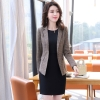 color 2fashion grid printing office women's dress suits twinset