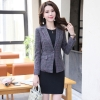 color 3fashion grid printing office women's dress suits twinset
