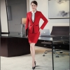 Redfashion office business women pant suits  work uniform