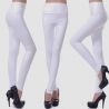 whitefashion sexy leather PU high rise deisgn women pant legging