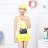 Yellowcartoon cat  head printing children swimwear swimsuit