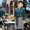 women blackish greencasual Korea design  autumn bar waiter uniform