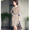 BeigeKorea design double-breasted high quality work dress for office women