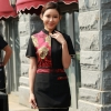 women red personality paint flower print waiter waitress uniform