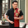 men redpersonality paint flower print waiter waitress uniform