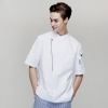 short sleeve whitefashion right opening unisex chef pullover coat for restaurant kitchen