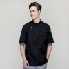short sleeve blackfashion right opening unisex chef pullover coat for restaurant kitchen
