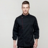 long sleeve blackfashion right opening unisex chef pullover coat for restaurant kitchen