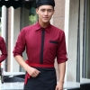 men long sleeve wineClassic Korea fashion high quality hotel workplace men women shirt uniform