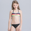 2colorful-dashed hem girl swimwear girl bikini