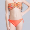 6colorful-dashed hem girl swimwear girl bikini