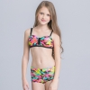7colorful-dashed hem girl swimwear girl bikini